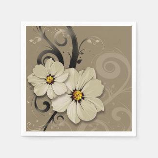 Ornate Floral Flourish | taupe Disposable Napkin