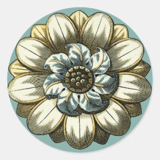 Ornate Floral Medallion on Light Blue Background Round Sticker