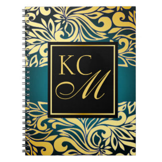 Ornate Floral Monogram Journal | teal Notebook