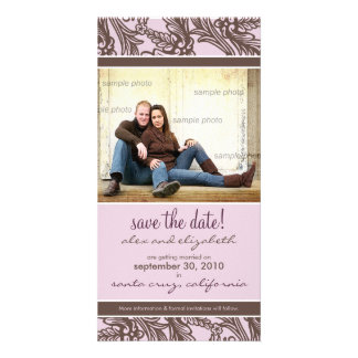 Ornate Floral Save the Date Announcement Personalised Photo Card