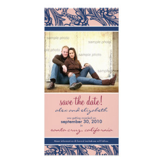 Ornate Floral Save the Date Announcement Photo Greeting Card
