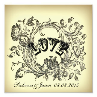 Ornate Flourish Swirls Vintage Wedding Photo