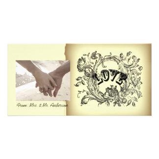 Ornate Flourish Swirls Vintage Wedding Photo Card Template