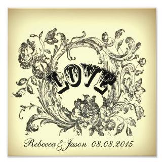 Ornate Flourish Swirls Vintage Wedding Photo Print