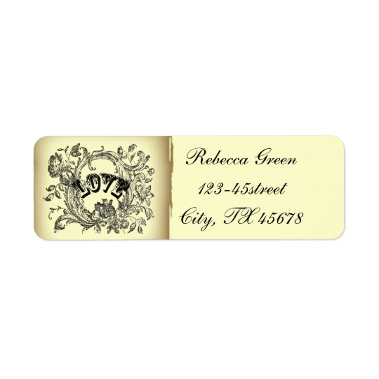 Ornate Flourish Swirls Vintage Wedding Return Address Label