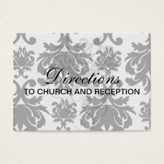 ornate formal black white damask business card