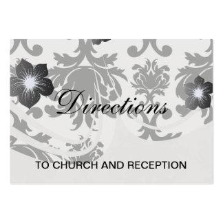 ornate formal black white damask large business cards (Pack of 100)