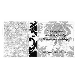 ornate formal black white damask customised photo card