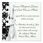 ornate formal black white damask 13 cm x 13 cm square invitation card