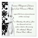ornate formal black white damask invite