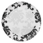 ornate formal black white damask plate