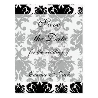 ornate formal black white damask postcard