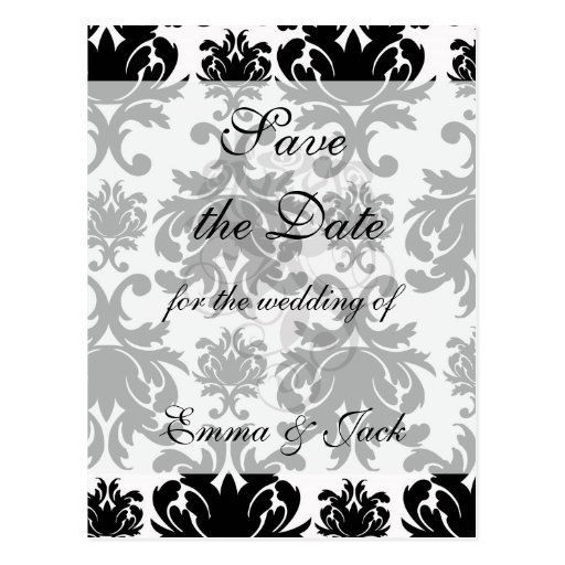 ornate formal black white damask post card