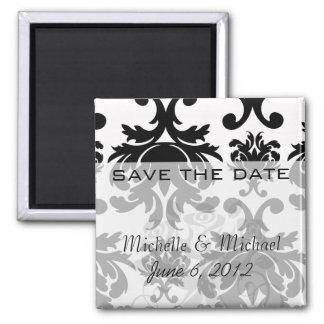 ornate formal black white damask square magnet
