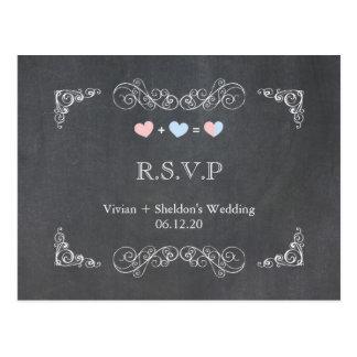 Ornate Frame + Chalkboard Wedding RSVP (4.25x5.6) Postcard