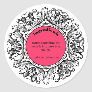 Ornate Frame Handmade Soap Ingredients Label