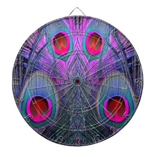 Ornate Fuchsia-Purple  Peacock Feathers GIFTS Dartboard With Darts