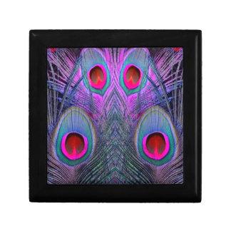 Ornate Fuchsia-Purple  Peacock Feathers GIFTS Small Square Gift Box