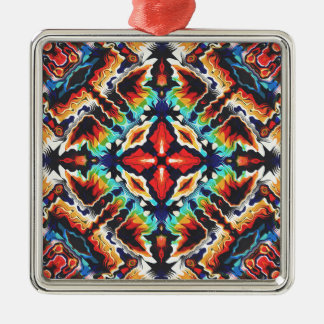 Ornate Geometric Colors Metal Ornament