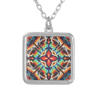 Ornate Geometric Colors Silver Plated Necklace