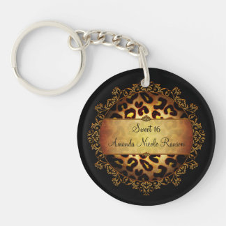 Ornate Girly Sweet 16 Leopard Print Key Chain