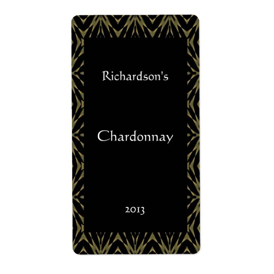 Ornate Gold and Black Wine Label Shipping Label