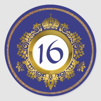 Ornate Gold and Blue Sweet 16 Birthday Stickers