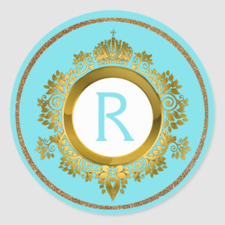 Ornate Gold and Turquoise Monogrammed Stickers