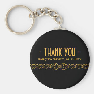 Ornate Gold Belt - Gold Black Wedding Thank You Basic Round Button Key Ring