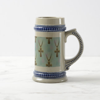 Ornate Gold Cross and Chain Beer Steins