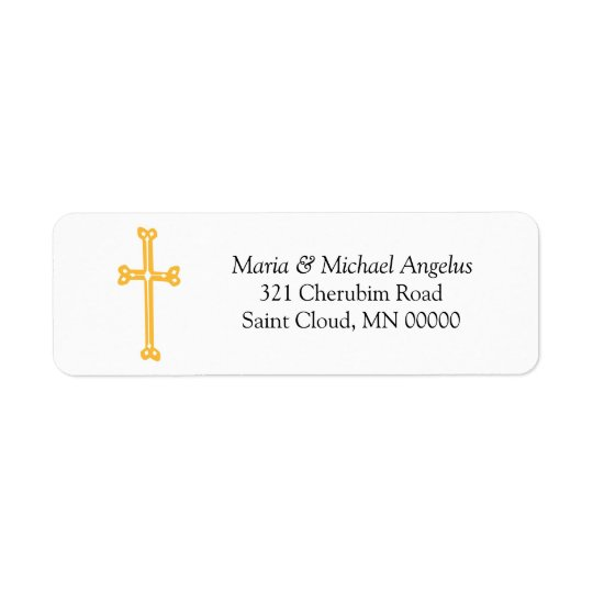 Ornate Gold Cross Return Address Wedding Labels