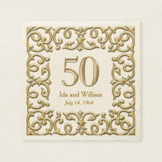 Ornate Gold Frame 50th Anniversary Disposable Napkin