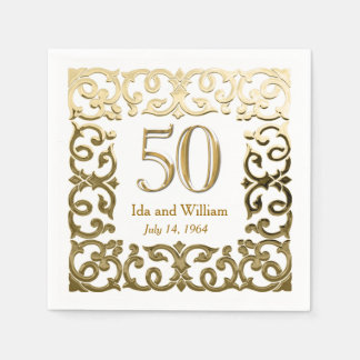 Ornate Gold Frame 50th Anniversary Disposable Napkins
