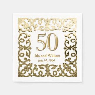 Ornate Gold Frame 50th Anniversary Disposable Napkins