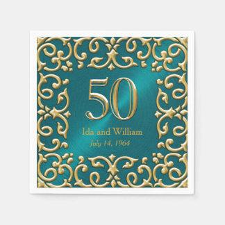 Ornate Gold Frame 50th Anniversary Paper Napkins