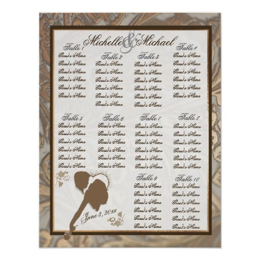 Ornate Gold & Loving Couple Table Seating Chart Posters