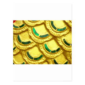 Ornate gold tiles from thai temple postcard