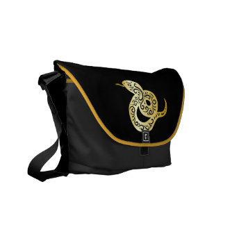 Ornate Golden Colored Chinese Snake Commuter Bag