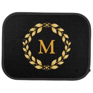 Ornate Golden Leaved Roman Wreath Monogram - Black Car Mat