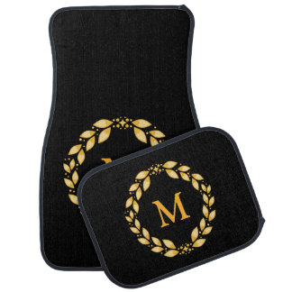 Ornate Golden Leaved Roman Wreath Monogram - Black Car Mat