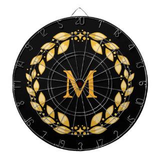 Ornate Golden Leaved Roman Wreath Monogram - Black Dart Board