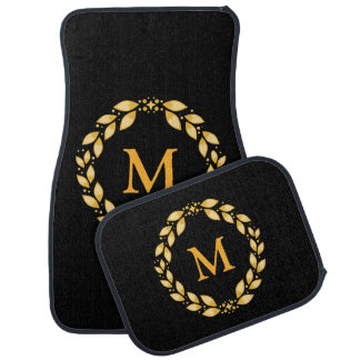 Ornate Golden Leaved Roman Wreath Monogram - Black Floor Mat