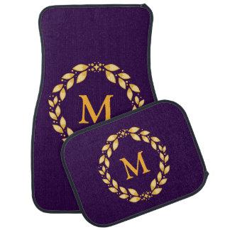 Ornate Golden Leaved Roman Wreath Monogram -Purple Car Mat