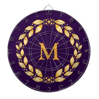 Ornate Golden Leaved Roman Wreath Monogram -Purple Dart Board