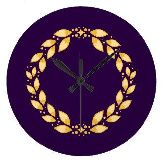 Ornate Golden Leaved Roman Wreath -Purple Wallclocks