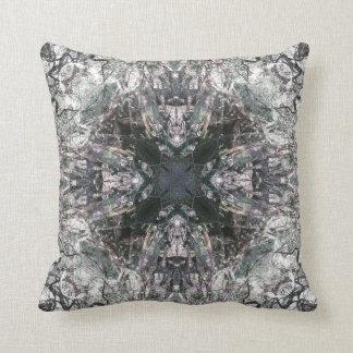 Ornate Gothic Stained Glass Square Cross Mandala Cushion