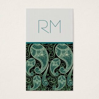 Ornate Green And Black Paisley Lace-Template Business Card