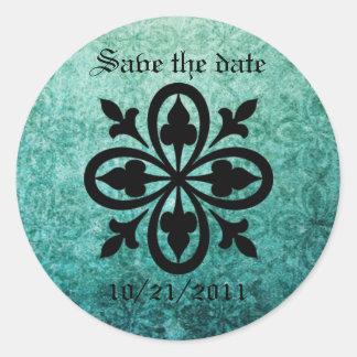 Ornate Green Damask Gothic Stickers Envelope Seals