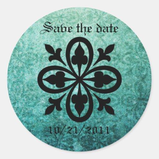 Ornate Green Damask Gothic Stickers/Envelope Seals