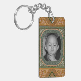 Ornate Green Faux Bois Carved Look Photo Frame Double-Sided Rectangular Acrylic Key Ring
